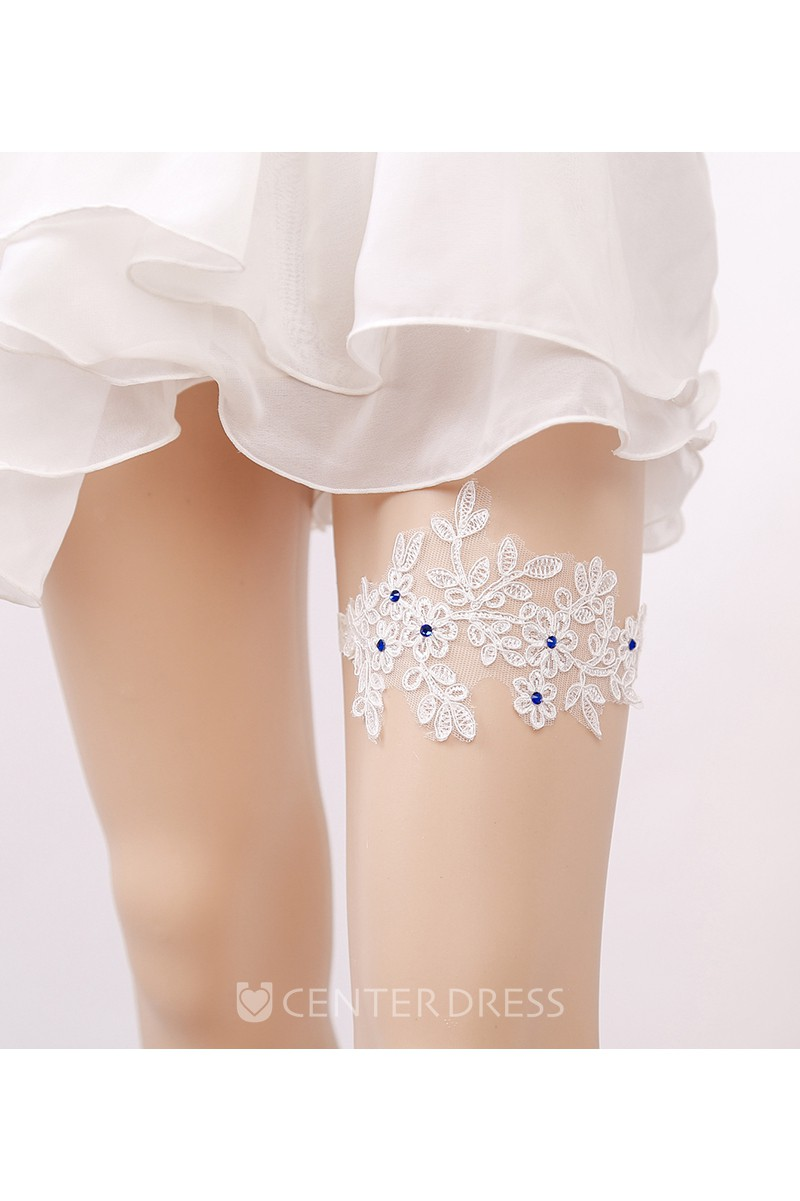 Sequined Garter in Pale Blue stretch lace dotted with sparkling iridescent sequins