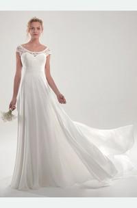 Goregous Chiffon Short Sleeve Chapel Train Wedding Dress