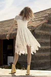 Informal Short Sleeve With Illusion Lace Details Country Knee-length Wedding Dress