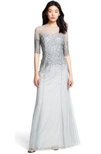Sheath Sequined Half Sleeve Jewel Neck Tulle Bridesmaid Dress