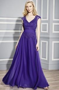 A-Line Long Cap-Sleeve Appliqued V-Neck Chiffon Formal Dress