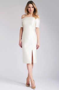 Off-Shoulder Midi Wedding Dress With Split Front