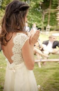 A Line V-neck Chiffon Lace Low-V Back Wedding Gown