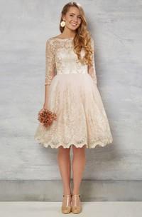 A-Line Bateau-Neck Knee-Length 3-4-Sleeve Lace Wedding Dress With Illusion
