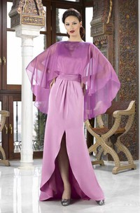 Maxi Split-Front Jewel Neck Satin Mother Of The Bride Dress With Cape And Beading