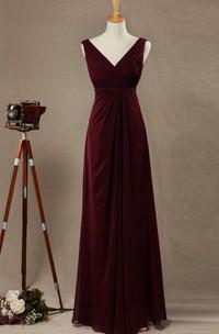2018 V-neck Burgundy Bridesmaid Dress