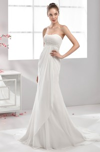 Strapless Pleating Chiffon Wedding Dress With Pearl Waistline And Front Draping