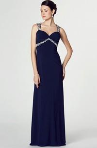 Sheath Beaded Long Empire Sleeveless Straps Chiffon Prom Dress With Keyhole Back And Ruching