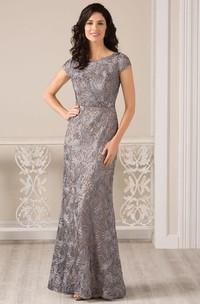 Cap-Sleeved Bateau-Neck Long Appliqued Gown