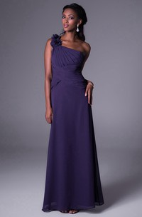 Floral One-Shoulder Sleeveless Chiffon Bridesmaid Dress With Ruching