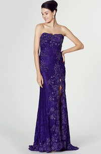 Beaded Strapless Lace Prom Dress With Appliques And Split Front