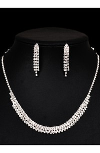 Classic Bridal and Cocktail Party Rhinestone Necklace and Earrings Jewelry Set