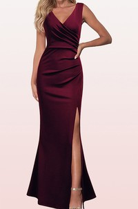 Casual V-neck Satin Sleeveless Sheath Guest Dress With Split Front and Ruching