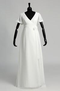 A Line Court Floor-length Pleats Sash Ribbon Chiffon Wedding Dress