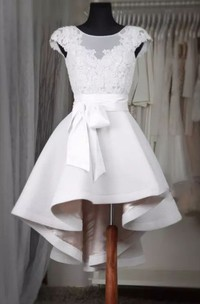 Short Sleeve A-line Square High-low Satin Wedding Dress with Bow Ruffles and Sash