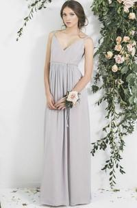 Sleeveless V-Neck Ribboned Chiffon Bridesmaid Dress With Pleats