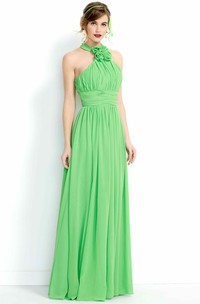 Floral Sleeveless High-Neck Long Chiffon Bridesmaid Dress With Ruching