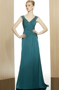 A-Line V-Neck Sequined Sleeveless Long Chiffon Formal Dress With Low-V Back And Ruching