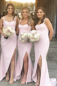 Trumpt Simple Sweetheart Bridesmaid Dress With Straps And Front Split And Ruching