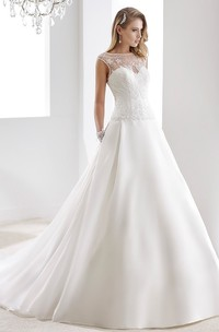 Cap Sleeve A-Line Stain Bridal Gown With Lace Bodice And Illusive Design