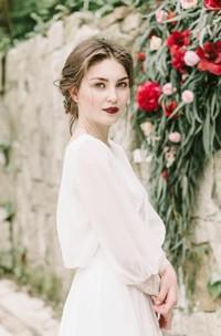 A Line Jewel Chiffon Open Back Wedding Gown
