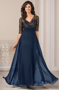 Half-Sleeved V-Neck A-Line Gown With Illusion Bodice