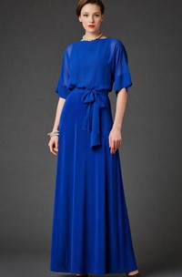 Illusion Half Sleeve Chiffon Mother of the Bride Dress