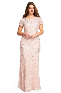 Floor-Length Mermaid Scoop Neck Short Sleeve Sequin Plus Size Bridesmaid Dress