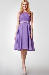 Sleeveless Bateau Neck Knee Length Chiffon Dress With Lace Bodice