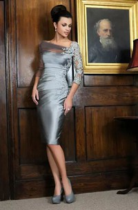 3-4 Length Sleeve Sheath Bateau Knee-length Satin Lace Mother of the Bride Dress with Appliques