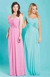 Maxi One-Shoulder Criss-Cross Sleeveless Chiffon Bridesmaid Dress
