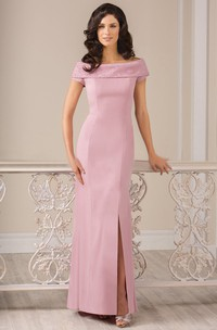 Cap-Sleeved Long Sheath Gown With Front Slit And Beadings