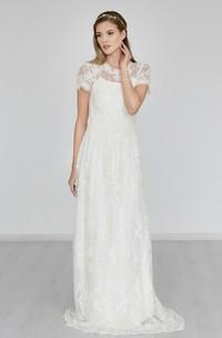 Boho High Neck Cap Sleeve A-Line Lace Wedding Dress With Brush Train
