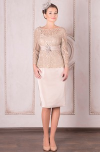 Knee-Length Pencil Appliqued Bateau Neck Long Sleeve Satin Mother Of The Bride Dress