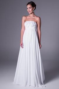 A-Line Empire Strapless Appliqued Chiffon Wedding Dress