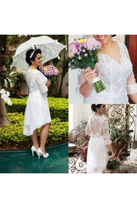 A Line V-neck Lace Zipper Wedding Dress
