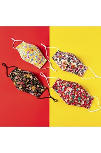 Non-medicial Cute Floral Patterned Cotton Washable Face Mask In 4 Colors