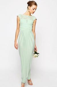 Sheath Ankle-Length Bateau Neck Cap Sleeve Lace Chiffon Bridesmaid Dress