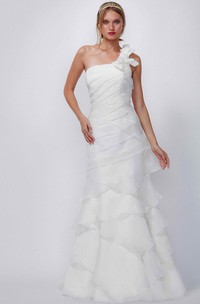 One-Shoulder Floor-Length Tiered Chiffon Wedding Dress With Brush Train And Lace Up