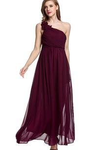 Empire Floral Single Strap Chiffon Long Dress Red