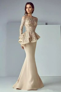 Long Sleeve Mermaid Bateau Floor-length Satin Lace Mother of the Bride Dress with Peplum