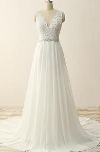 Maxi V-Neck Beading Chiffon Lace Satin Dress