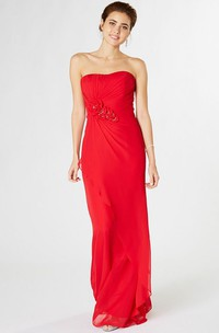 Sheath Strapless Ruched Chiffon Bridesmaid Dress With Flower And Draping