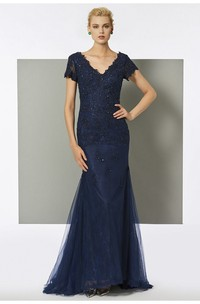 Beaded V-neck Tulle Short Sleeve Mermaid Gown With Sweep Train