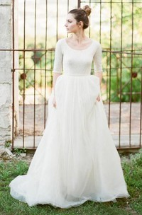 A Line Scoop Lace Tulle Zipper Wedding Gown