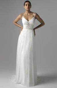 Spaghetti Floor-Length Beaded Chiffon Wedding Dress With Brush Train And V Back