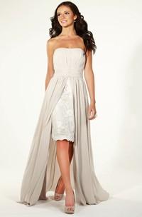 Pencil Appliqued Strapless Chiffon Bridesmaid Dress With Pleats