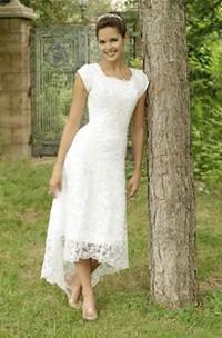 A Line Scoop Lace Zipper Wedding Gown