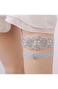 Handmade European And American Blue Diamond Lace Elastic Garter