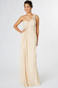 Sheath Sleeveless One-Shoulder Floral Chiffon Bridesmaid Dress